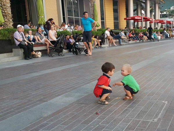 While waiting to watch the Dubai Mall fountain show, Blake was making friends.