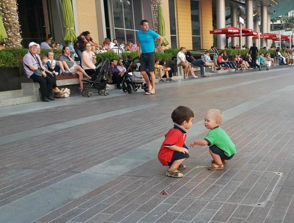 While waiting to watch the Dubai Mall fountain show, Blake was making friends.
