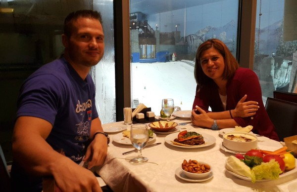 "We had a delicious dinner at ? where we were also able to watch people who were at ""Ski Dubai"""
