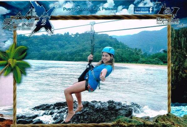 Kalani got to ride the zipline by herself and we bought the photo the company took of her.