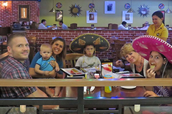Lunch at a Mexican restaurant where all of the staff were Filipinos. So of course they helped us take care of Blake so we could eat.