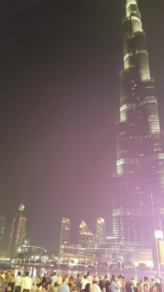 Night view of the Burj Kalifa after the water show.
