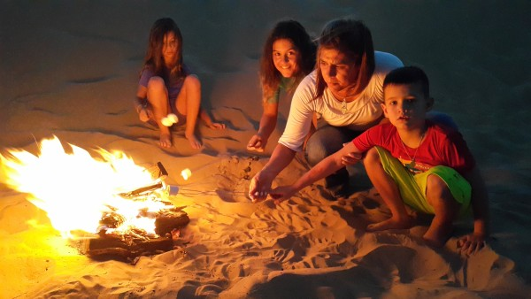 We built a fire in the sand and made s'mores.