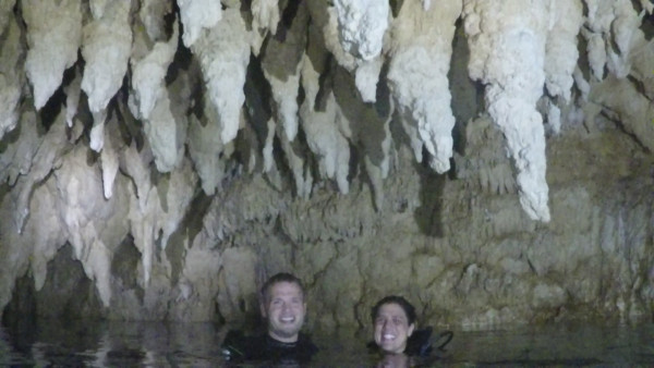 Our couple photo inside Chandelier Cave