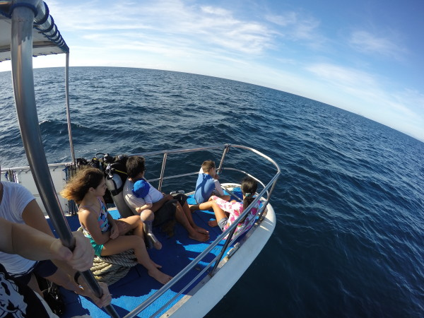 Christmas Day we got on a boat and headed towards Apo Island. Our kids wanted to be in the front.