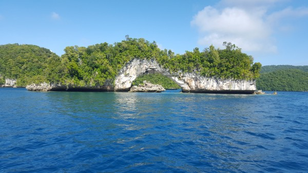 On our way back from a dive our boatman took us over by the famous Rock Arch of Palau.