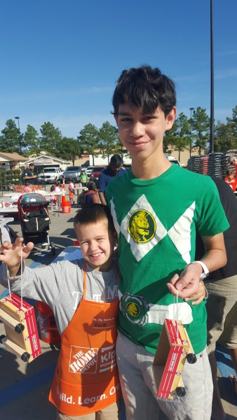 Mason made a small wagon at Home Depot with his uncle Seth.