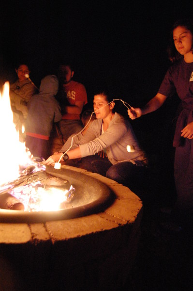 Roasting marshmallows and Starbursts over a fire was a fun activity.