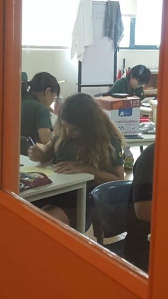 Kalani in math class.