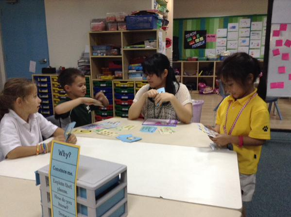 Math games with a parent and classmates for Mason.