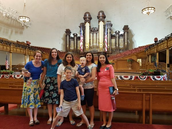 We befriended Leslie in the Philippines and encouraged her to serve a mission. She returns home the end of this month, so we count it very fortunate that we got a VIP tour of Temple Square with her and her companions. Here we are inside the Tabernacle.