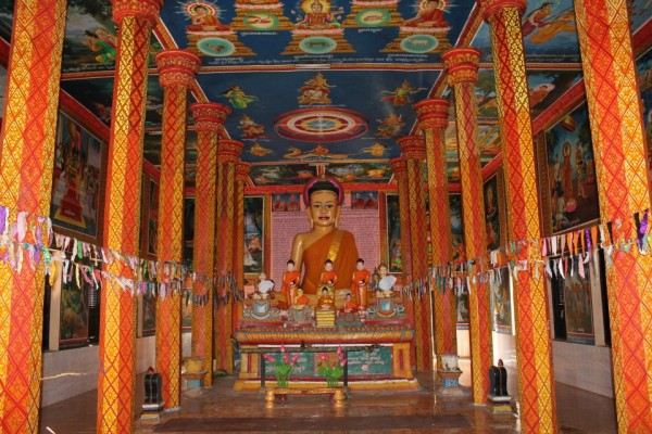 Inside of a functioning pagoda...It was pretty amazing with the art work all over