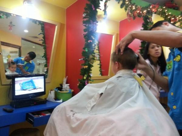 Mason's first professional haircut