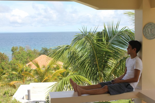 Enjoying the view of Siquijor from our resort (Firefly Cove)