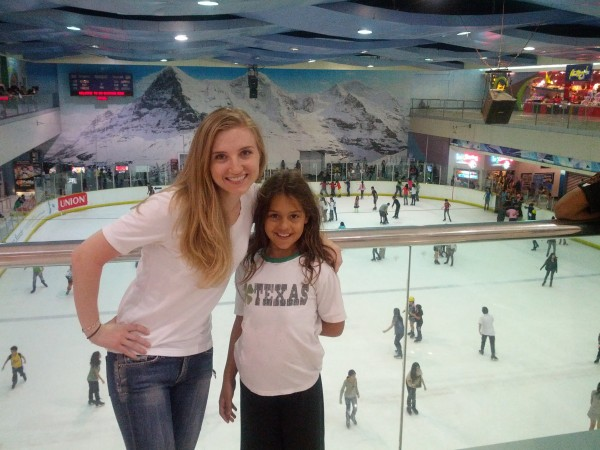 We took her to the Mall of Asia (3rd largest mall in all of Asia) where there is an ice skating rink inside