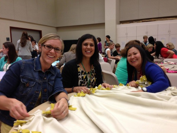 Tying fleece blankets for the Crossroads Foundation and making new friends.