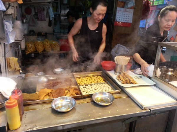 We needed to eat after we checked in and walked the streets near the hotel.  We saw this street food, and didn't partake since I'm sure they were frying up some intestines.