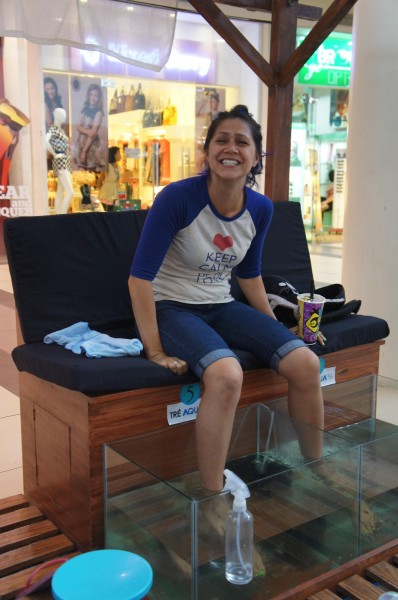 We had a long wait for a ferry boat in Dumeguete before we could take the Hansens to Siquijor.  So, we spent time at the mall getting massages, pedicures, fish spa, eating, etc.