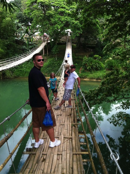 """""""Hanging Bridge"""" made of some steel wire, but mostly bamboo."""