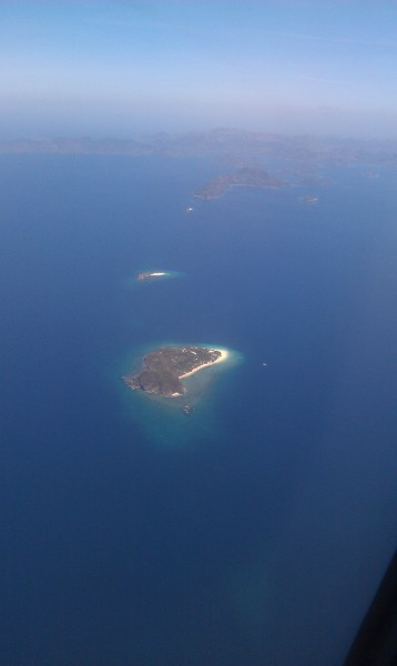 This island is Club Paradise as seen from the plane