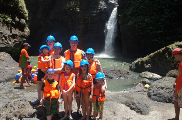 It took us 3 canoes, but we all made it to Pagsanjan Falls.  And all of us went under the main falls by being pulled by a bamboo raft