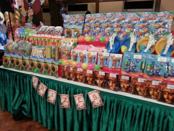 There were various games that they kids played and after each game they got a prize...this is the prize table