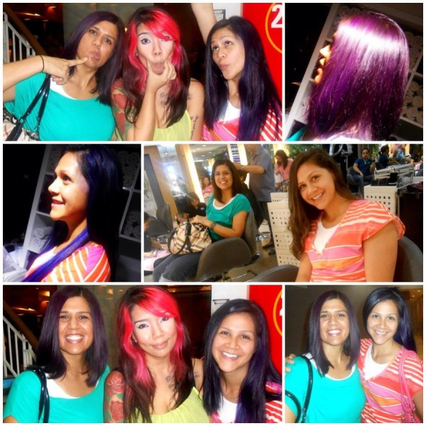 A friend took us to get our hair colored.  I got purple and Makana got blue streaks through out our hair.  We are the Fruit Loops in a Cherrio world.