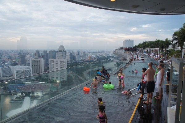 We went up to Marina Bay Sands Hotel to check out their infinity pool.