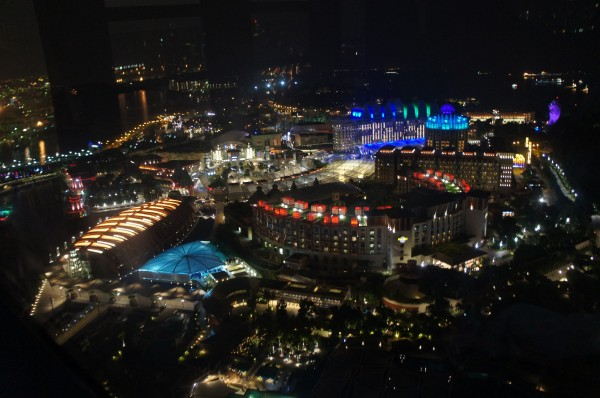 View of Sentosa Island at night as seen from our cable car.