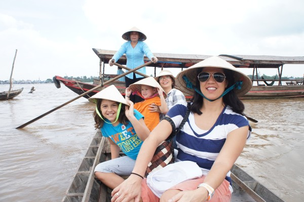 We rode in this smaller canoe to go down a channel of the Mekong Delta