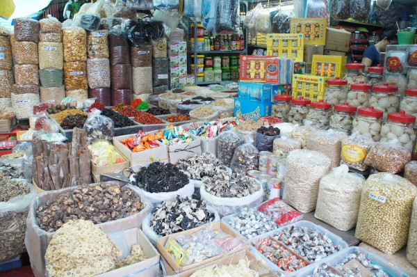 Items for sale inside the market