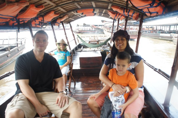 Ready to go on the Mekong Delta.  A long river that starts in China and goes through most of the countries in South East Asia and finally reaches the ocean in Vietnam