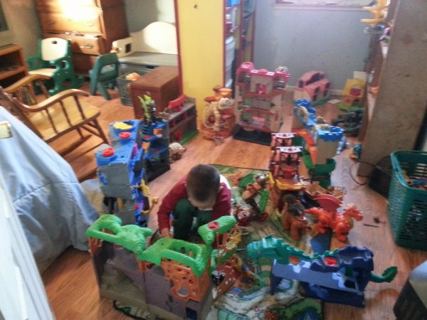 Mason LOVED playing with all of the toys at grandma's house.