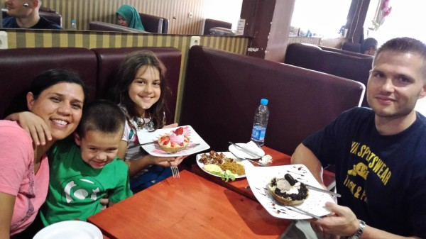 """A late lunch at D'Marcos where our tour guide is part owner. We enjoyed all of the food that she had prepared for us and these are the """"dessert pizzas"""""""