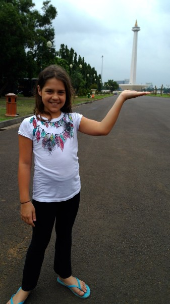 Kalani holding the National Monument