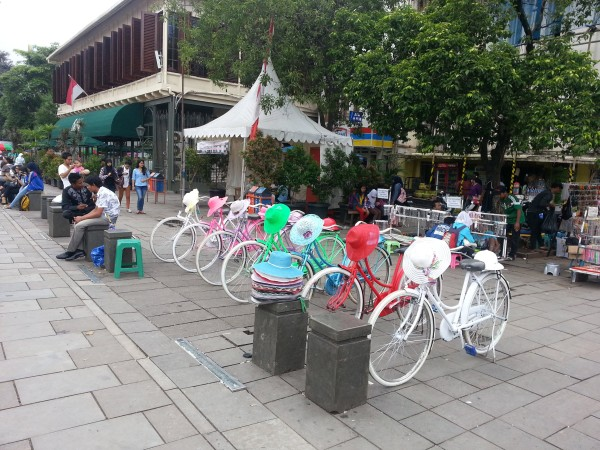 """In """"Old Town Jakarta"""" there is a European feel since the Dutch where here. You can rent these bikes with matching hats for an hour and ride around the square"""