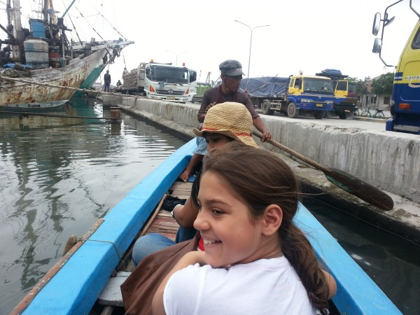 We spent time at Sunda Kelapa seeing huge wooden boats and then taking a 15 minute boat ride with this older gentleman