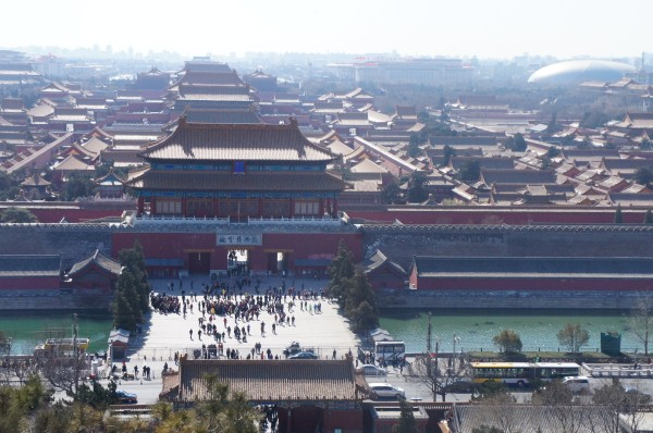 Behind the Forbidden City is Jingshan Park. It offers a fabulous view of how huge the Forbidden City is...9,999 rooms total before a fire destroyed some of them