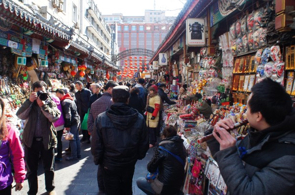 Around the corner from the scorpion area is this souvenir alley full of people and trinkets