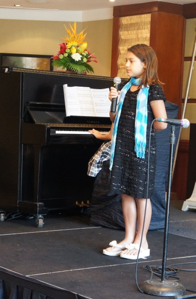 She loves to sing and had a singing teacher for a couple of months and now is in an International Girls choir
