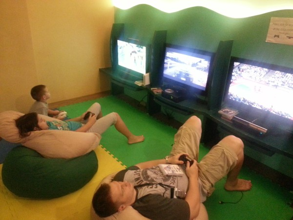 We spent some time swimming, playing table tennis and then everyone had a chance to play a video game
