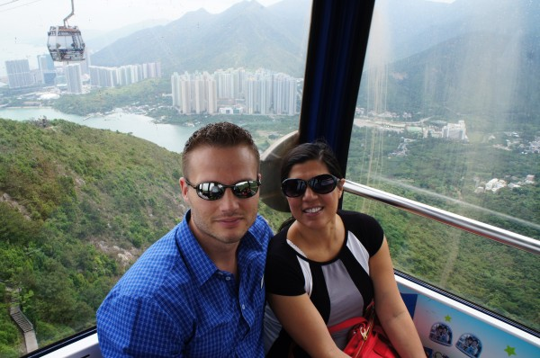 Heading up to the Big Buddha by cable car