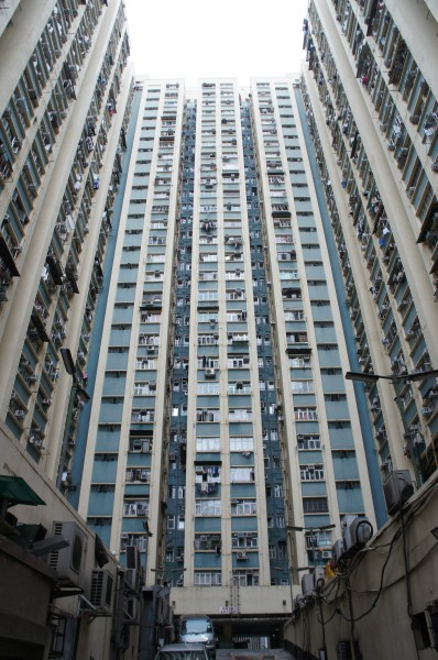 Over 1,000 people live in this apartment building. There are many of these apartment buildings all over Hong Kong