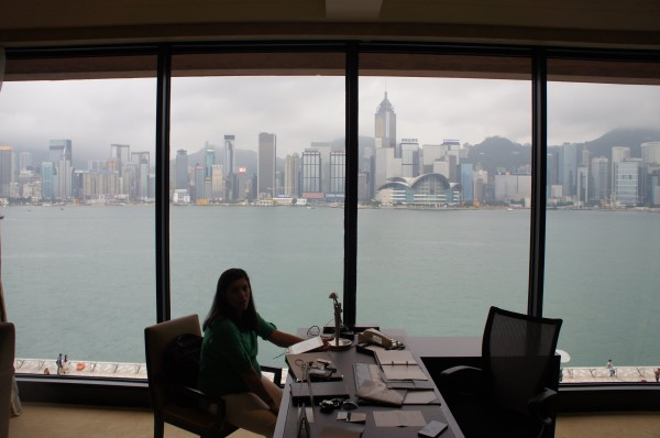 We booked a room at the Intercontinental Hotel and had a spectacular view of the Victoria Harbor