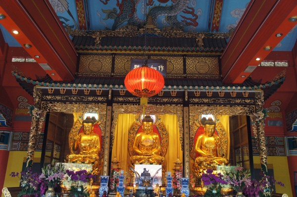 Across from the Big Buddha is the Po Lin Monastery. Here are statues of Buddha as Yesterday, Today & Tomorrow
