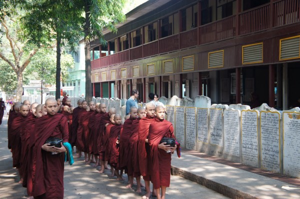 We visited a monastery around lunch time and saw the monk procession where they bring in their donations for the day and then get their lunch meal