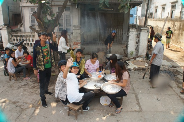 The locals here are making a traditional sugar snack that is only eaten during the Water Festival
