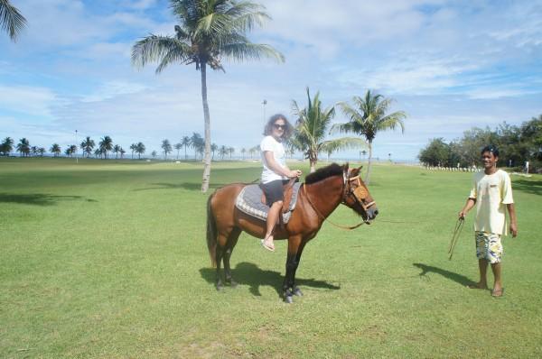 Kalani went horseback riding around the resort and on the beach