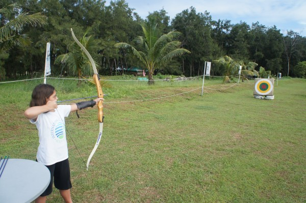 She also tried out archery for the first time