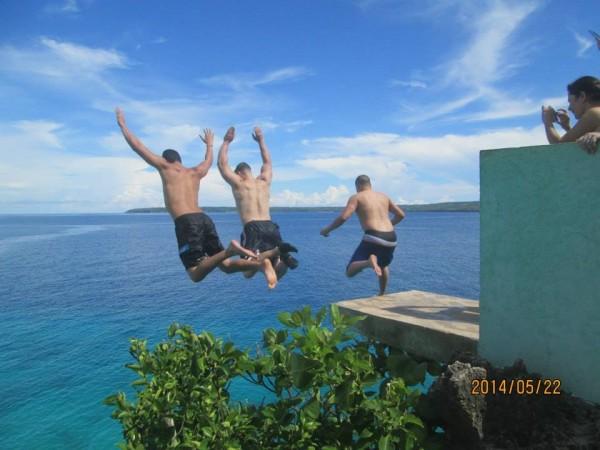 3-man jump from the platform at Salagdoong